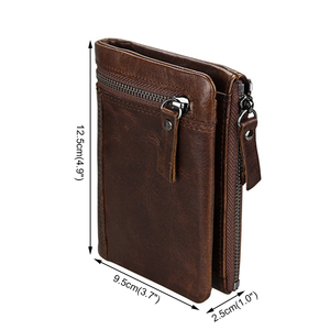 Image 2 - ATAXZOME Genuine Leather Wallet Mens Short Coin Purse Vintage Brand Anti magnetic RFID Wallets Natural Cowhide Mens Gift W3580