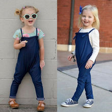 2019 Fashion Summer Baby Girls Denim Bib Pants Romper Jumpsuit Playsuit Cloth Overall for Children Clothes Kid Toddler Clothing pants kotmarkot 20155 children clothing for girls kid clothes