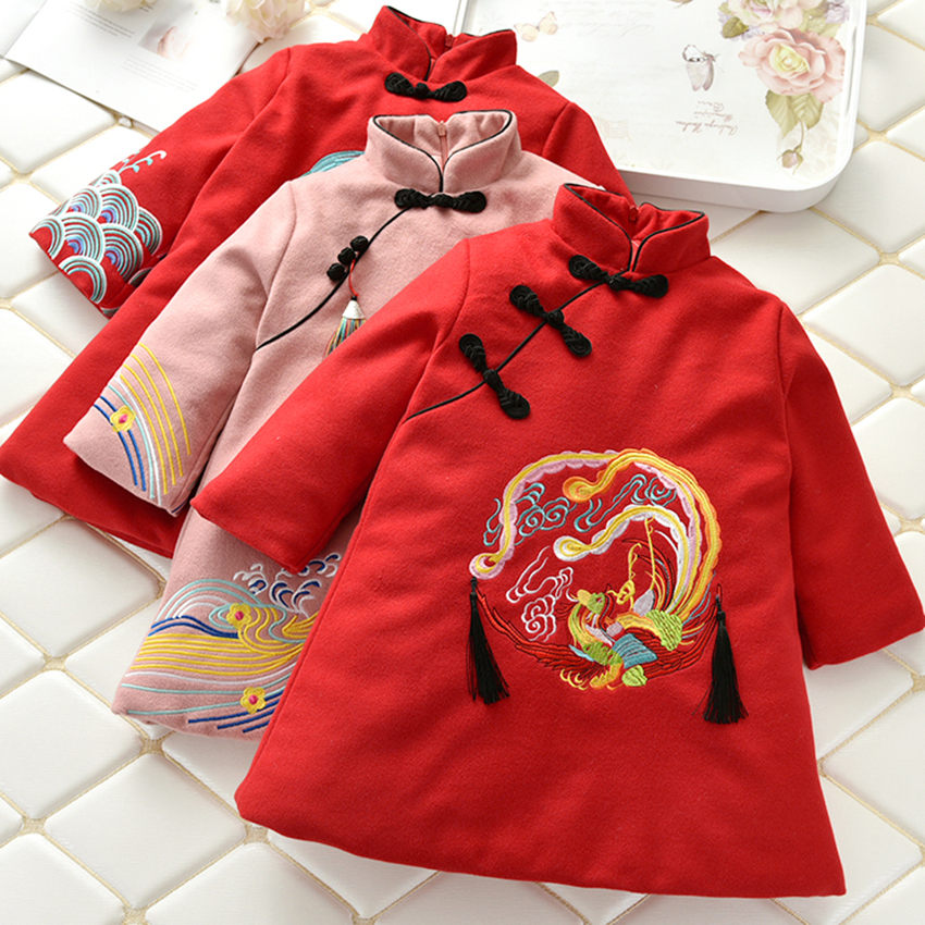 Tang Suit Dress for Girl Collar Emboridery White Crane Dragon Phoenix Traditional Chinese Clothing for Women Winter Print Tassel