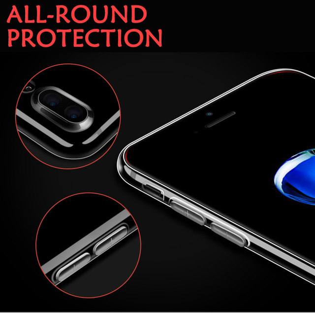 Luxury Clear Silicone Soft TPU Case For 7 8 6 6s Plus 7Plus 8Plus X XS MAX XR Transparent Phone Case For iPhone 5 5s SE 6sPlus