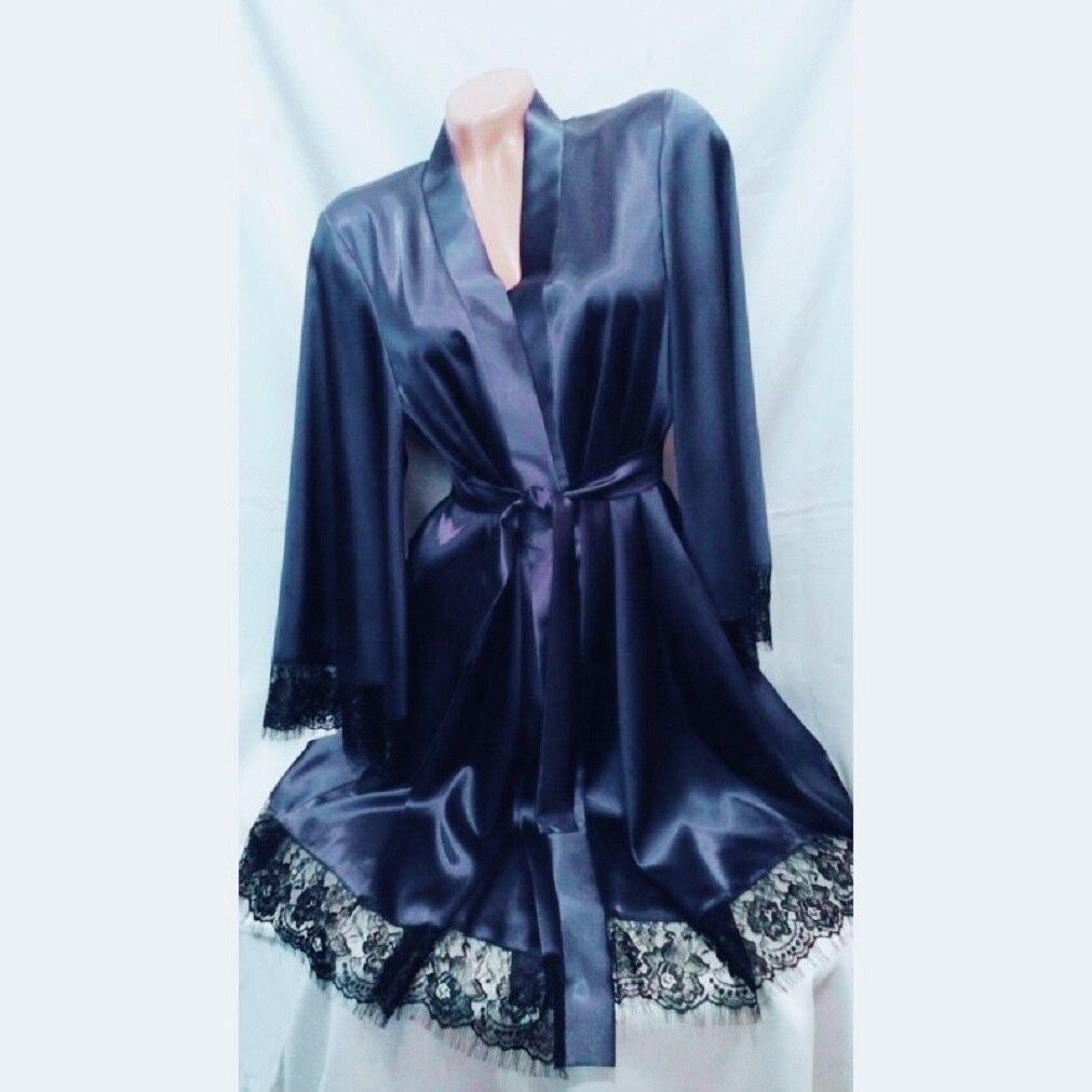 299e3704be Detail Feedback Questions about Lace Sexy Women Bathrobe Satin Lady  Nightgown Silk Soft Long Lingerie Night Robe Babydoll Dress Sleepwear on  Aliexpress.com ...