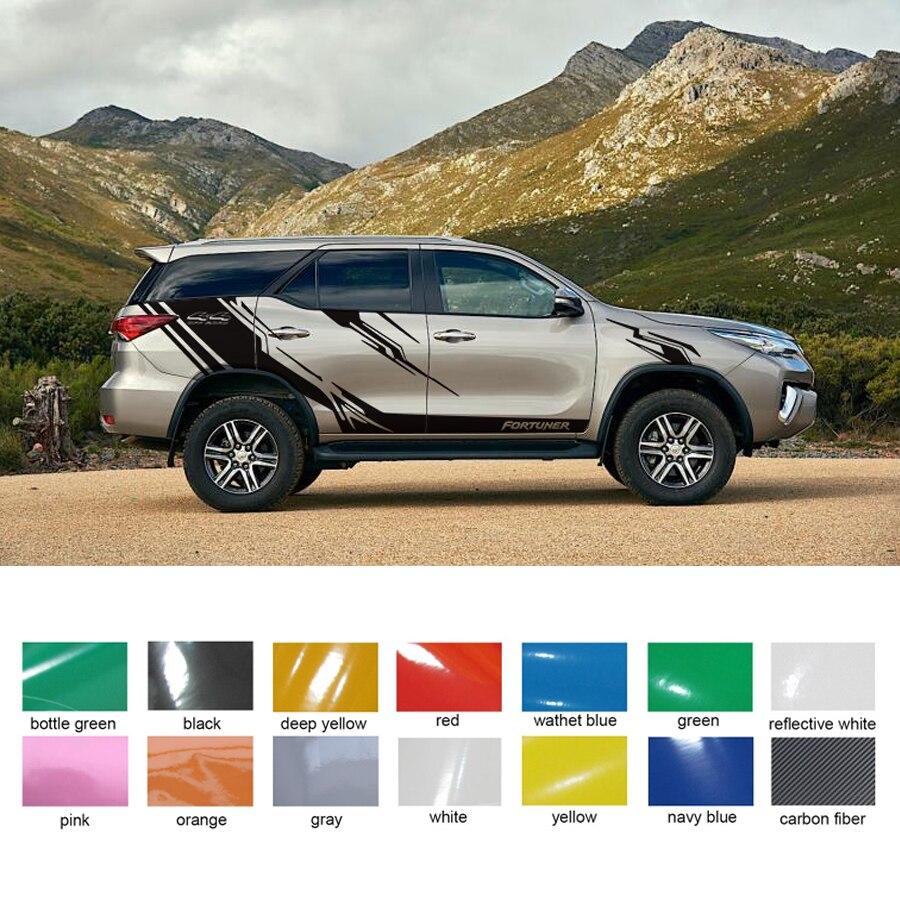 На заказ для toyota FORTUNER наклейки 6 шт. 4X4 внедорожные полосы автомобиля боковой двери графические винилы модифицированные аксессуары декорати