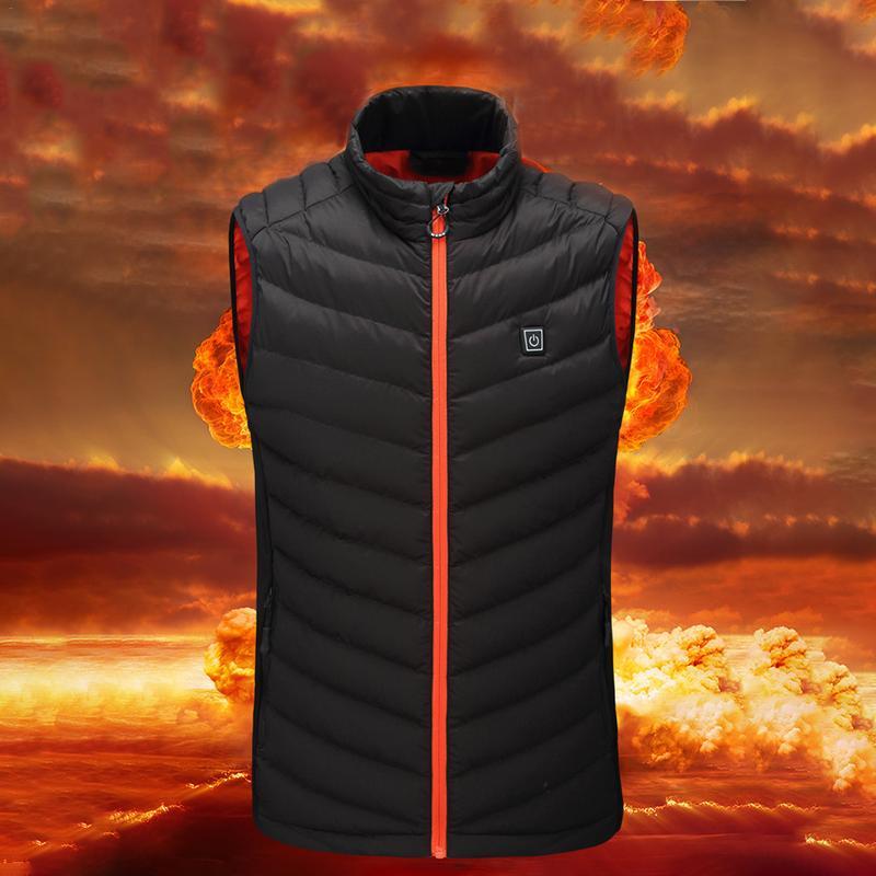Winter Men Electric Heated Vest Heating Cotton Vest Graphene Electric Vest Adjustable USB Charging Heated Clothing Large Size