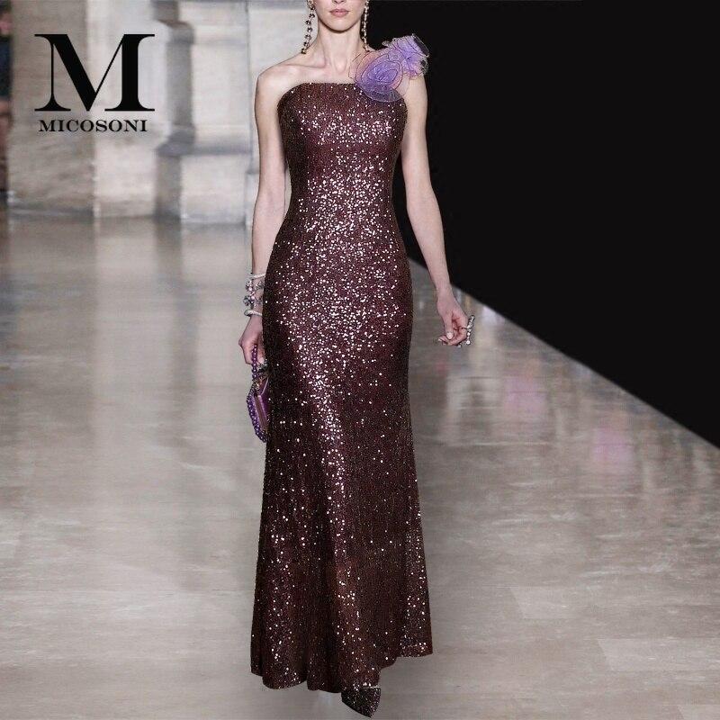 Haute couture 2019 paillettes violet foncé une épaule stéréo fleur corps réparation partie longue robe spéciale formelle robes de sirène