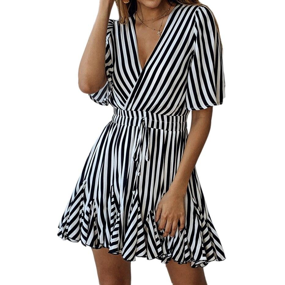 Women Striped Vintage Dress Elegant V Neck Striped Wrap Ruffle Hem Pleated Mini Dress With Belt Summer A Line Short Dress