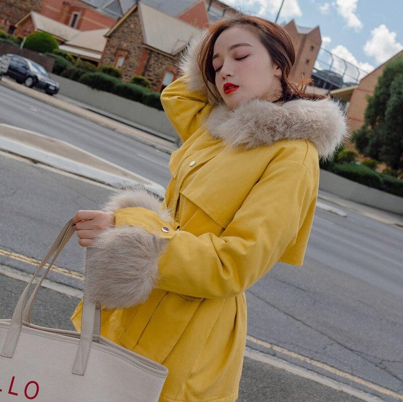 Femelle Femmes Matelassé Grand D'hiver yellow Manteau Coton Parka A554 Grande Colour Travail Vêtements Pink Épais Col Solide Cheveux Taille 2018 Coréen Veste Couleur EOqxEf