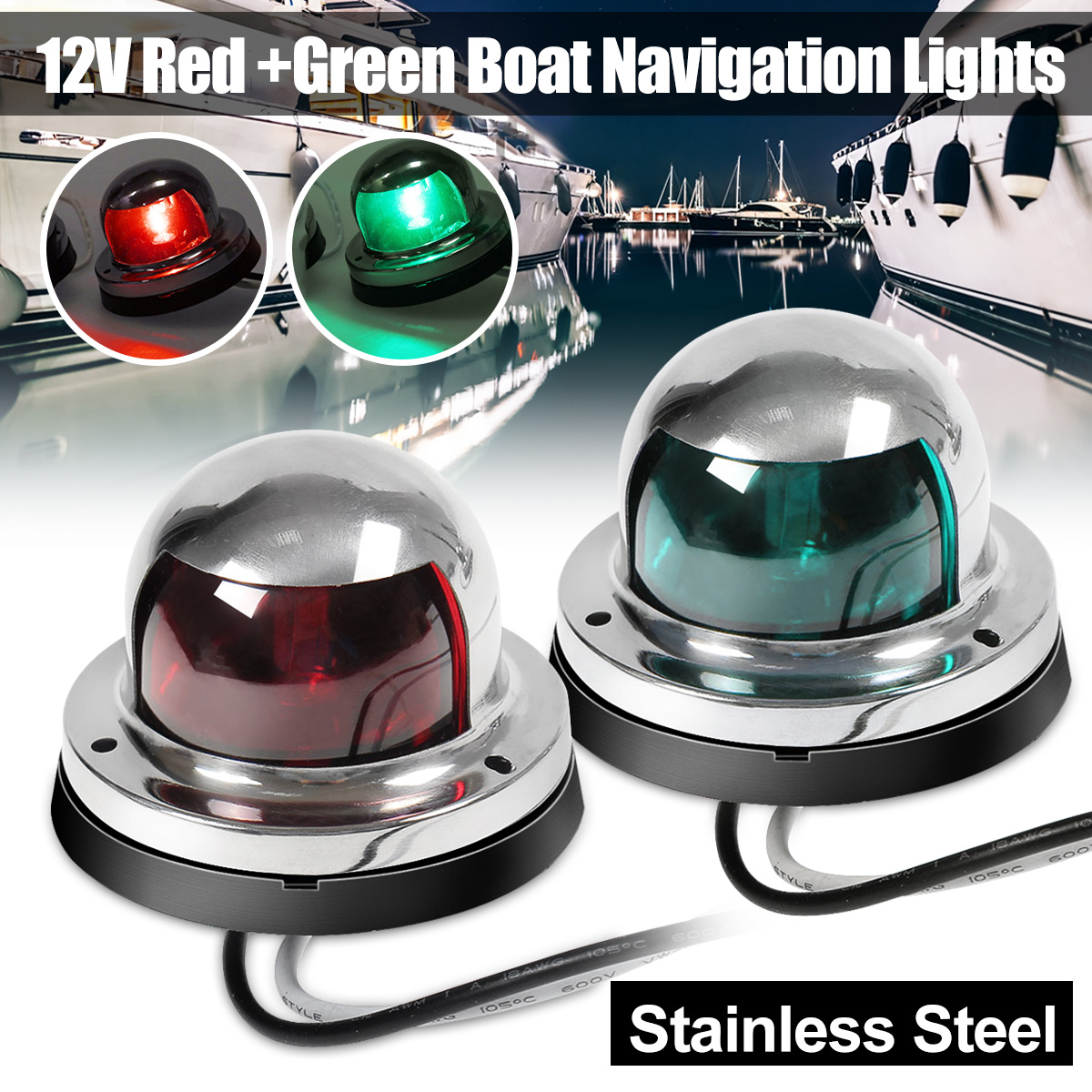 Marine Boat Yacht Pontoon 12V Stainless Steel LED Bow Navigation Light Green ha