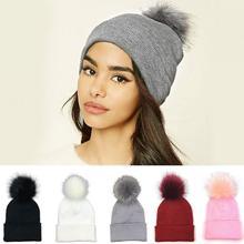 Invierno de las mujeres sombrero de lana grande de piel de pompón esponjoso  sombreros ponpon tapas b8239215fcf