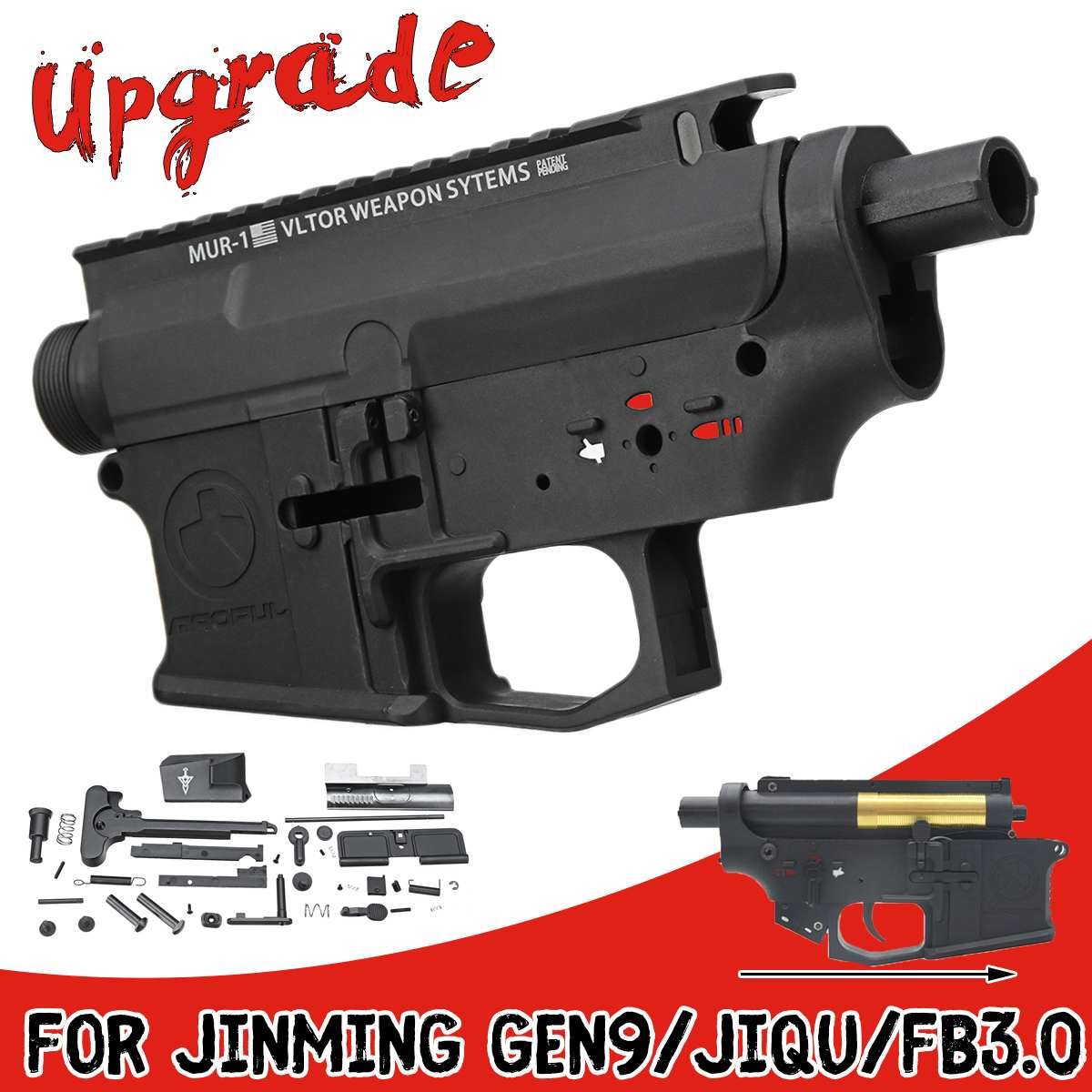 Nylon Récepteur Shell Métal Upgrade Pièces convient pour JinMing Gen9/JiQu/FB3.0 Boîte De Vitesses Gel Balle Blasters jeux aquatiques Fusils Jouets