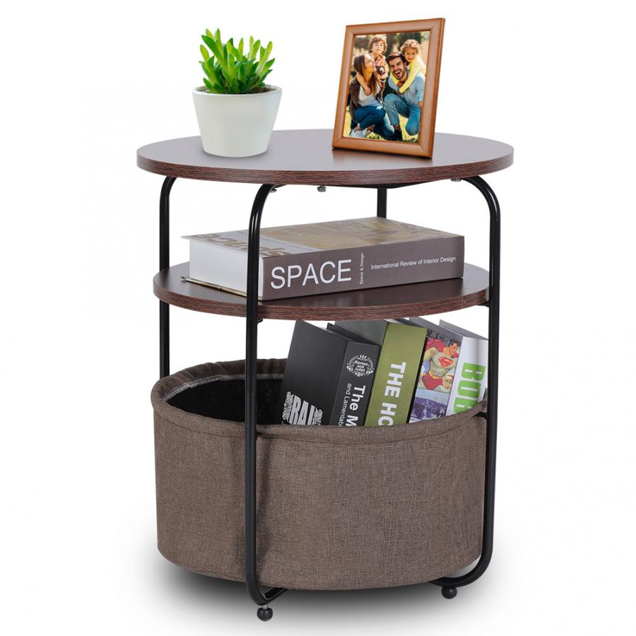 Image 2 - Coffee Table Armchair Slide Under Sofa End Table Round Sofa Console Table with Storage-in Coffee Tables from Furniture