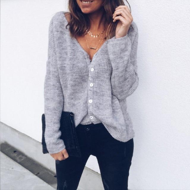 Trendy Vrouwen kleding solid Button-hals Gebreide Trui lange mouwen casual katoenen Truien Vest Tops een stukken