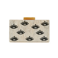 Pearl Nude Eye Styles Acrylic Clasp Clutch Striped Acrylic Purse Women Wallet Shoulder Messenger Party Acrylic Bags