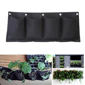 4-Слои чувствовал Настенный Карман для выращивания растений сумка садовые горшки семена садовых цветов многолетники сады