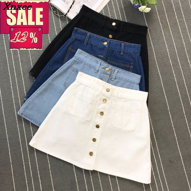 Ins fashion Womens ladies A-line denim skirt with buttons at front High Waist 2 pockets harajuku mini high quality jean skirts