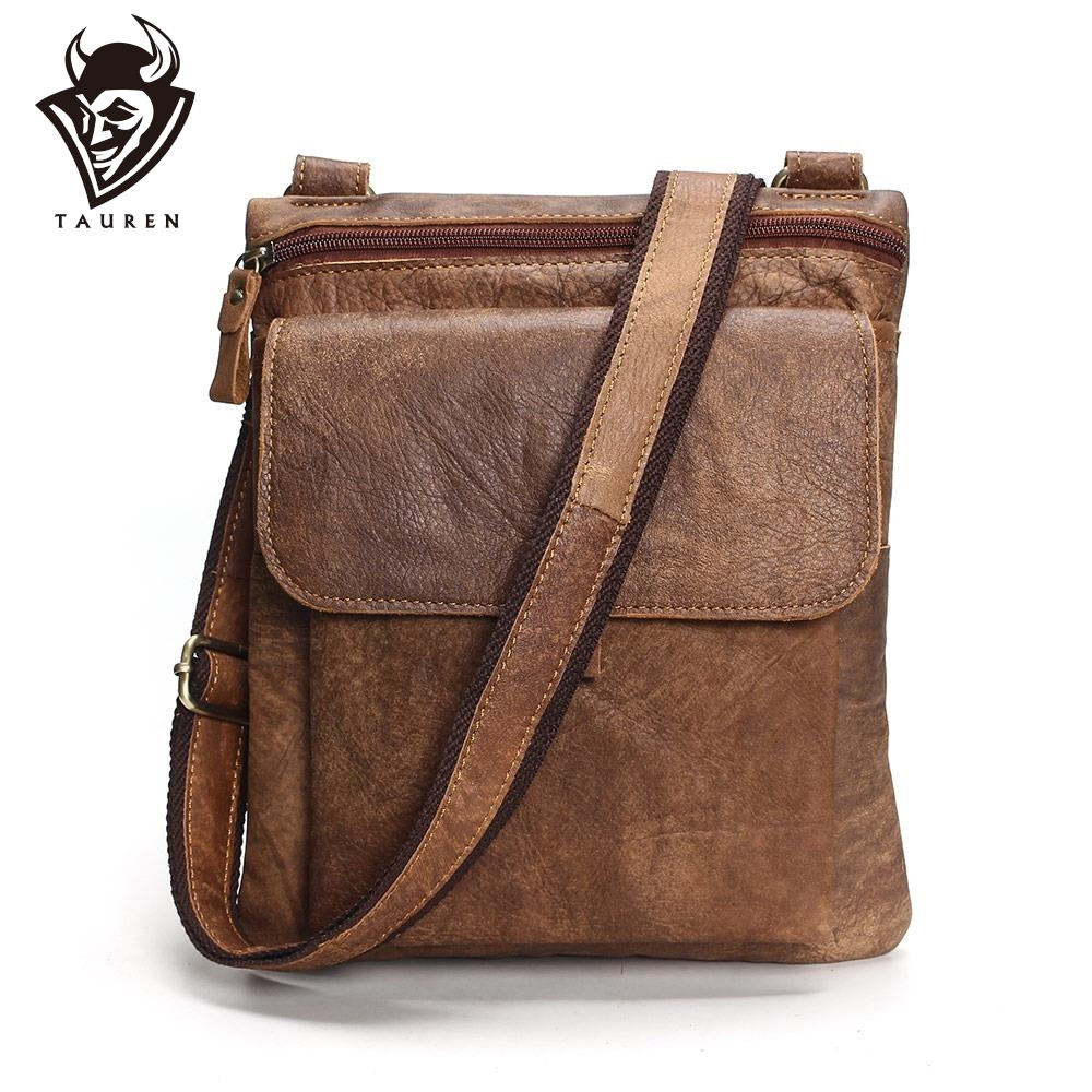Color : Brown, Size : Small WHXYAA Retro Leather Bag Leather Cowhide Vertical Bag Buckle Unisex