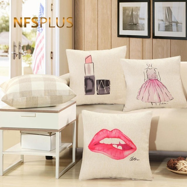 Makeup Designs Sofa Cushions Cover Chair 45x45cm Square Decorative Throw  Pillows Cotton Linen Pillowcase for Home Car Chair Bed 27297654418d