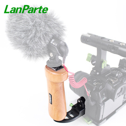LanParte Wooden Single Handle Grip with Nato Rail for DSLR Camera Cage