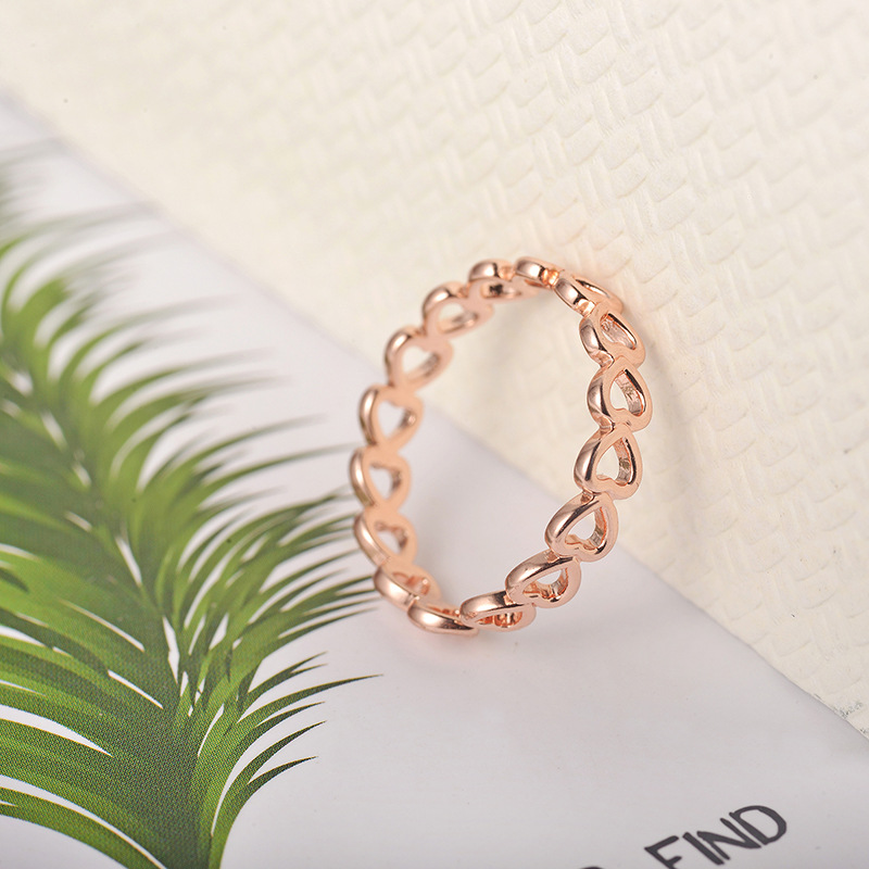 Fashion Silver Stainless Steel Ring High Quality Creative Hollow Heart Rose Gold Ring for Women Opening Wedding Jewelry in Wedding Bands from Jewelry Accessories