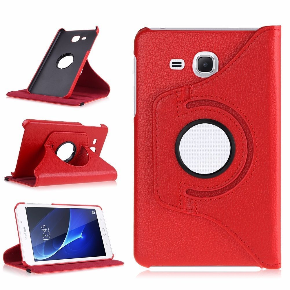 360 Rotating PU Leather <font><b>Case</b></font> Cover for <font><b>Samsung</b></font> <font><b>Galaxy</b></font> <font><b>Tab</b></font> <font><b>A</b></font> A6 <font><b>7.0</b></font> T280 285 SM-T280 SM-T285 Tablet Cover Smart Stand Funda Capa image