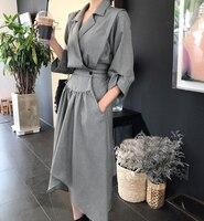 2019 Summer dress Spring suit, dress with high collar and irregular waist Summer Linen Dress 2018 Celmia Women Tunic Top