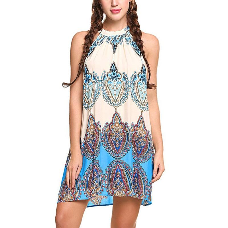 Ethnic Summer Women Beach Boho Casual Dress Halter Sleeveless Camisole Printing Vest Loose  Floral Vintage Ladies Dresses