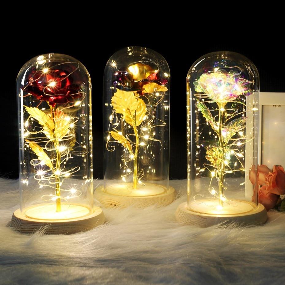 6 couleurs la belle et la bête Rose rouge dans un dôme de verre sur une Base en bois pour les cadeaux de la saint-valentin LED lampes roses de noël