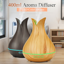 400ml Aroma Essential Oil Diffuser Ultrasonic Air Humidifier with Wood Grain 7 Color Changing LED Lights for Office Home все цены