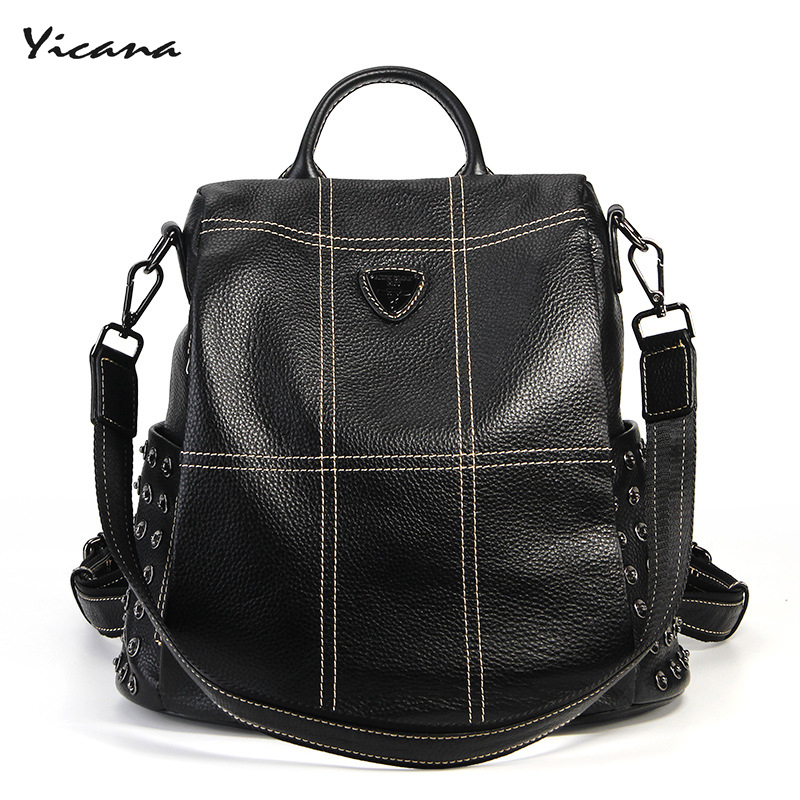 Yicana 2018 new style 100% Genuine leather backpack  multi-function popular womens fashion bagYicana 2018 new style 100% Genuine leather backpack  multi-function popular womens fashion bag