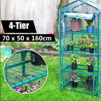 70x50x160cm Garden Greenhouse 4 Tier Tall Green Hot Plant House Shed Storage PVC Warm Garden Tier Cover with Stand