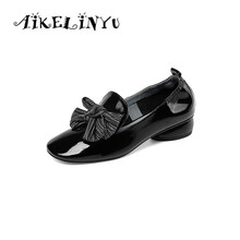 AIKELINYU Women Pumps Casual Spring Comfortable Handmade Genuine Leather Shoes Low Heel Bow Sweet Shoe Big Size34-43