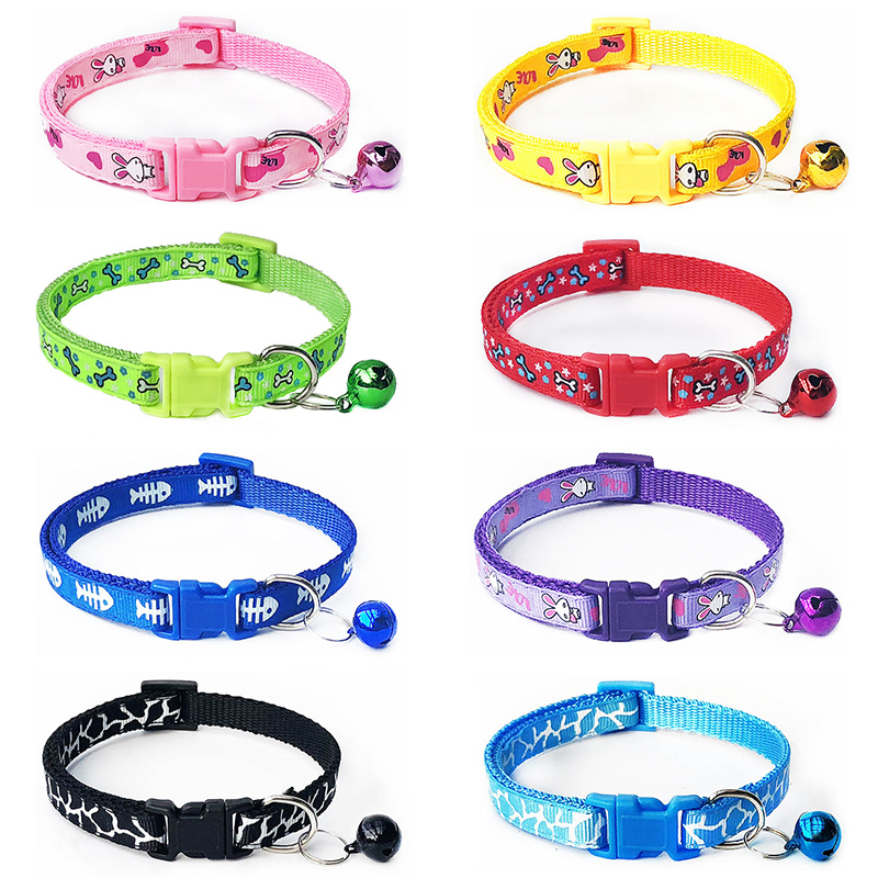Sale 1PC Pet Necklace Collar Polyester Lovely  With Bells Pets Collars Adjustable Dog Collars