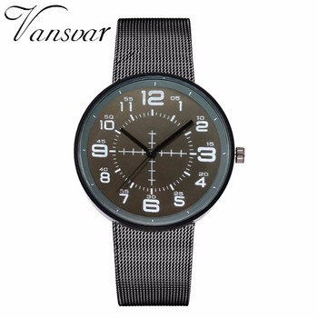 Vansvar Brand Men Black Stainless Steel Watch Male Quartz Sport Watch Luxury Men Casual Wristwatches Clock Relogio Masculino дамски часовници розово злато