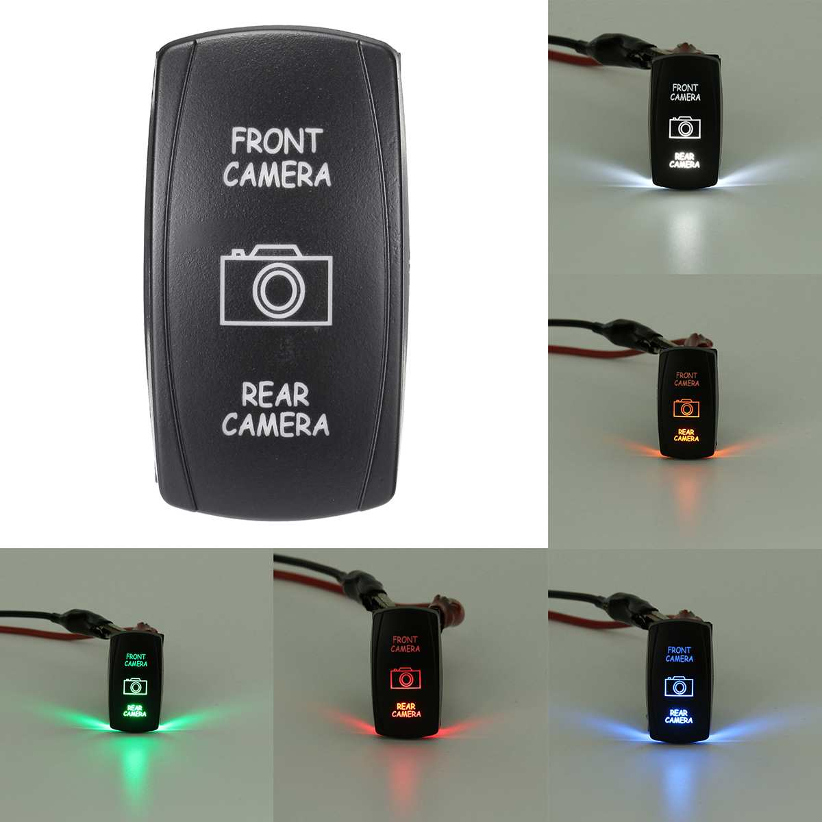 universal car 12v 7 pins front camera rear camera switch led dpdt on off  [ 1200 x 1200 Pixel ]