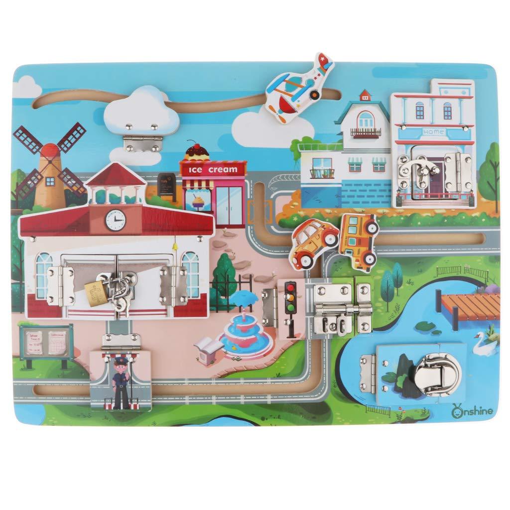 Panneau en bois serrure Puzzle Coordination œil-main Montessori apprentissage précoce jouets éducatifs cadeau d'anniversaire pour les enfants en bas âge