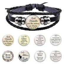 Best Friends Are The Sisters We Choose Friendship Black Rope Leather Bracelet Men Women Friend Gift Jewelry Accessories