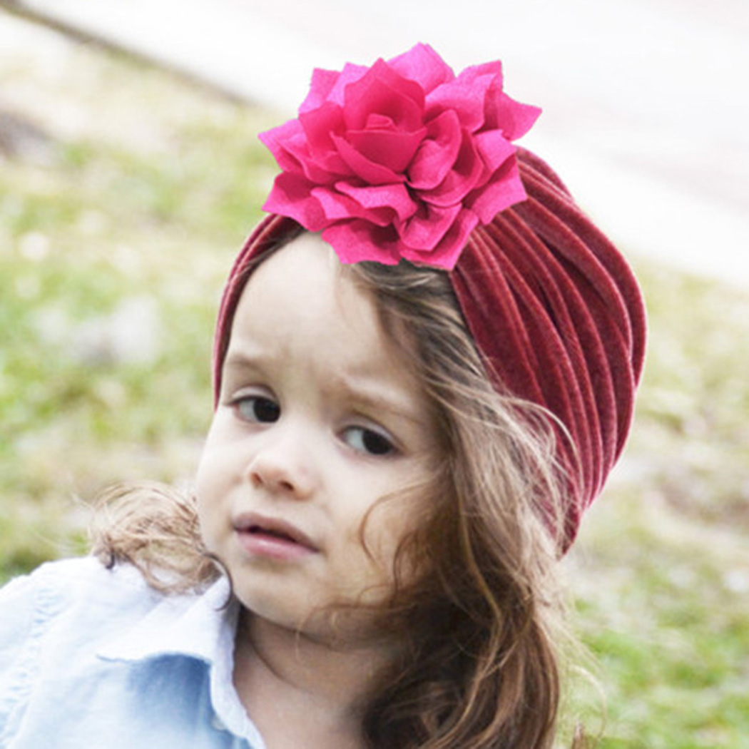 Spring Autumn Kids Turban Cap Children Beanie India Caps Hair Accessories Headscarf Girls Soft Velvet Solid Big Flower Cross Hat