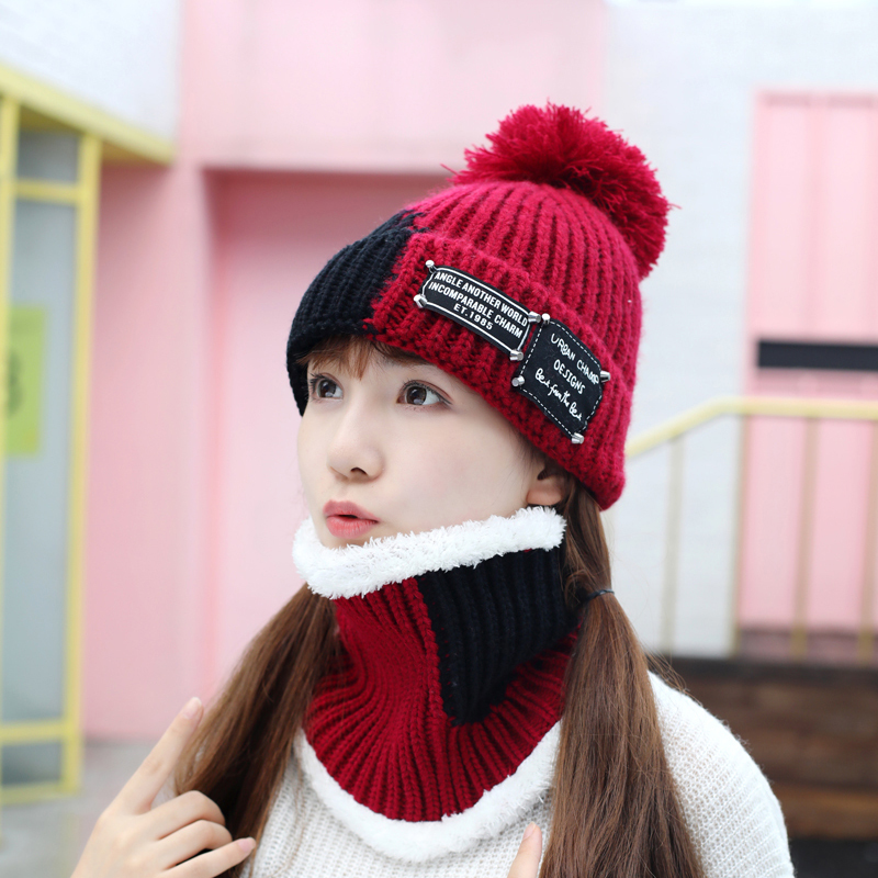 2018 New Chenille Knitted Hat Scarf Set Women Winter Hat With Pompom Warm Thickening Beanie Thick Skullies Female Cap Girl Gift