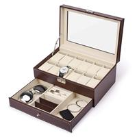 12 Slots Watch Box Mens Watch Organizer Pu Leather Case With Jewelry Drawer For Storage And Display Brown