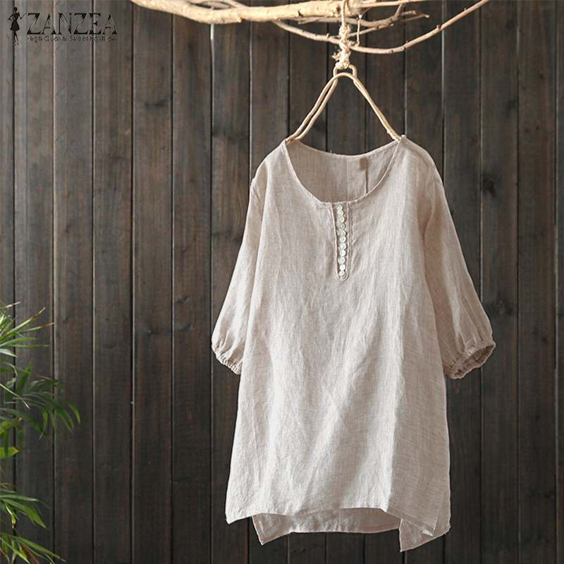 ZANZEA Women   Blouse     Shirts   Female Summer Short Lantern Sleeve O Neck Tops Ladies Casual Solid Work Blusas Chemise Plus Size 5XL