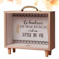1PC Wooden Storage Box Piggy Bank Storage Box Nordic Creative for Adult Kids Children