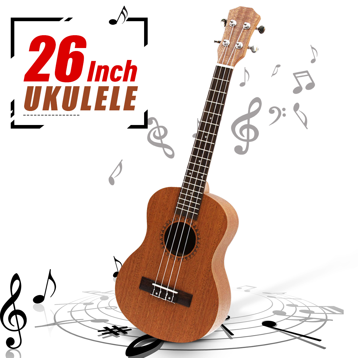 Professionnel 26 pouces ukulélé Uke Hawaii guitare acoustique Sapele 18 Fret bois ukulélé Instruments de musique pour grand cadeau