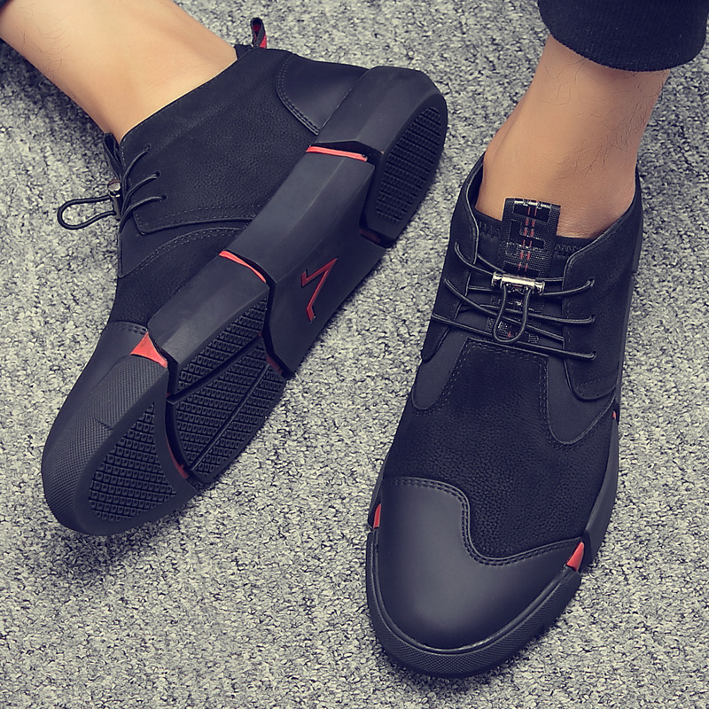 UPUPER All Black Leather Men's Casual Shoes Flat Lace Up Fashion Men Sneakers Breathable Outdoor Winter Shoes Men