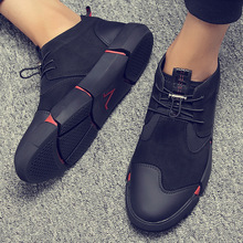 UPUPER All Black Leather Mens Casual Shoes Flat Lace Up Fashion Men Sneakers Breathable Outdoor Winter Shoes Men