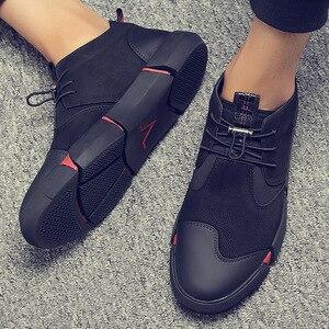 Image 1 - Upuper todos os sapatos casuais masculinos de couro preto plana rendas até moda masculina tênis respirável ao ar livre sapatos de inverno