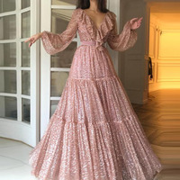 Women Ladies Glitter Sequins Sexy V Neck lantern Sleeve ruffle pleated design luxury vogue club Evening Party A line Long Dress