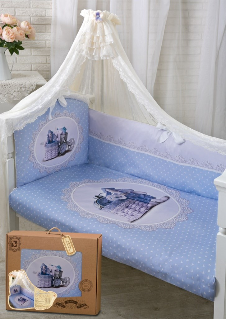 172 Set in the cot Bunny with часиками Satin (1722 blue)