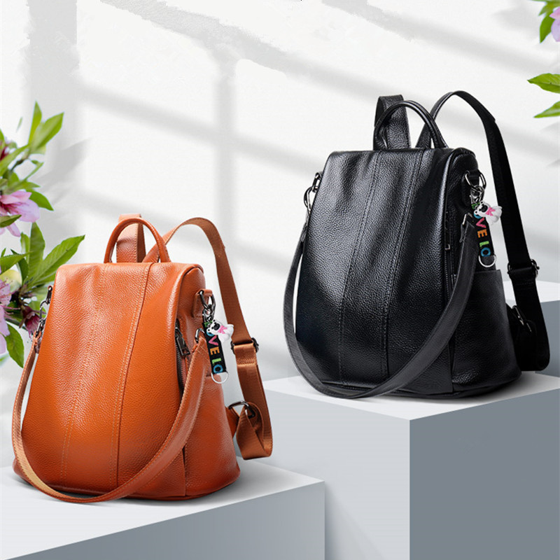 Leather school for teenage girls High-end quality 2019 bags Summer new fashion campus wind multicolor backpack Hot free shippingLeather school for teenage girls High-end quality 2019 bags Summer new fashion campus wind multicolor backpack Hot free shipping