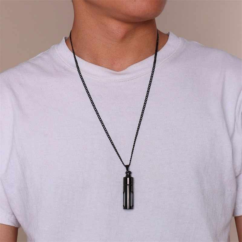 Black Essential Oil Bottle Stainless Steel Pendant NecklaceThe Oily Amulet Aromatherapy Male Urn choker Jewelry