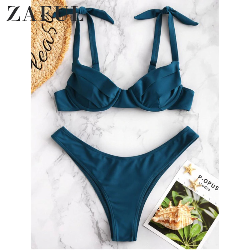 ZAFULTie Back Underwire Halter Bikini Sets Women Tied Back Bow Two Pieces Swimsuits 2019 Girl Boho Beach Bathing Suits
