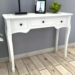 VidaXL toaletka stół konsolowy z trzy szuflady biały styl europejski meble z litego drewna salon stół konsolowy w Sekretarzyki od Meble na